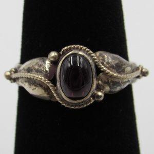 Vintage Size 7 Sterling Rustic Ornate Garnet Ring